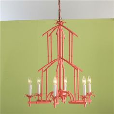 Bamboo Tower Chandelier - 6 Light (6 colors)