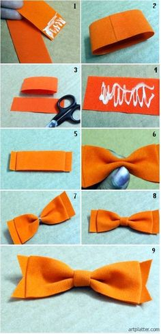 I love theses simple felt bows ! Felt Crafts, Fabric Crafts, Sewing Crafts, Diy Crafts, Making Hair Bows, Bow Making, Felt Bows, Diy Bow, How To Make Bows