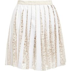 Sea Floral Lace Laminated Pleated Skirt ($325) ❤ liked on Polyvore featuring skirts, mini skirts, white lace skirt, mini skirt, floral mini skirt, white pleated mini skirt and white mini skirt