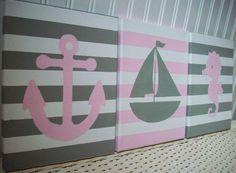 Nautical Nursery Wall Decor Anchor Sailboat Seahorse Pink Gray Canvas Paintings / Girl Nursery Bedroom / Wall Hanging Kids Art / Baby Girl on Etsy, $54.00