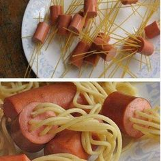 Entrails for supper! Great Halloween dinner/food for picky kids! Noodles and hot dogs!
