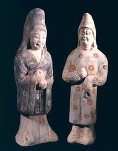 Pair of Tang Figures - Origin: China Circa: 618 AD to 907 AD Dimensions: high Collection: Chinese Medium: Terracotta Chinese Armor, The Han Dynasty, Terracota, China Art, Central Asia, Original Image, Golden Age, Asian, Sculpture