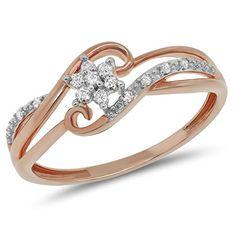 0.11 Carat (ctw) 10k Gold Round Diamond Bridal Split Shank Snowflake Cluster Flower Promise Ring 1/10 CT