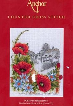 summer     1 Cross Stitch Flowers, Cross Stitch Patterns, Cross Stitch Landscape, Summer Days, Scenery, Seasons, Embroidery, Fabric, Art