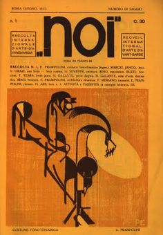 'Enrico Prampolini, Cover designed for Noi: Rivista d'Arte Futurista June 1917.' This covers main focus is to contrast against the background. Too variations of orange have been used in a background against the stark black lines and shapes on top. Letterform (serif) can also be identified as the covers heading and small paragraph of writing, this too contrasts against the background.
