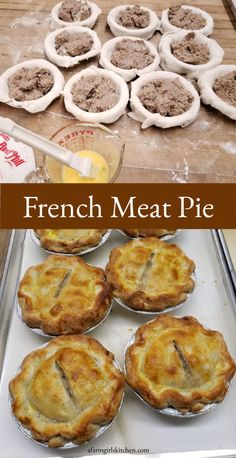 Tourtière, which is also known as meat pie or pork pie is traditionally made with ground meat, onions, spices, and herbs baked in a pie crust. You can use store-bought or homemade pie crust. and these can be MADE AHEAD of time! French Meat Pie, La Tourtiere, Canadian Food, Canadian Recipes, Ground Meat Recipes, Homemade Pie Crusts, Homemade Pork Pies, Le Diner, Recipes