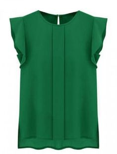 Green Puff Sleeve Split Chiffon Blouse $21