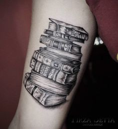 Stack of Books Tattoo by Tirza Tattoo