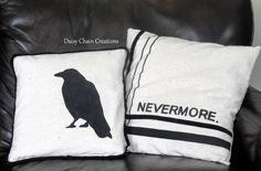 Nevermore and Crow Pillow Patterns Gold Pillows, Diy Pillows, How To Make Pillows, Couch Pillows, Cushions, Sofa, 31 Days Of Halloween, Halloween Projects, Homemade Halloween Decorations