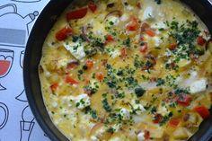 Tortilla met aardappel, feta en rode paprika. 8 SmartPoints per persoon bij Weight Watchers.