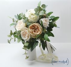 Silk Wedding Bouquet - Custom Wedding Bouquet, Peony Bouquet, Garden Rose, Cabbage Rose, Eucalyptus, Large Bouquet, Luxe Bouquet, Peach Pink by blueorchidcreations on Etsy