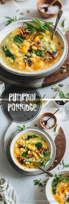 This Indonesian pumpkin porridge (Manadonese porridge) is fragrant, hearty, and loaded with nutrition. It's the perfect side dish to warm your body and heart as the weather gets cooler. {Gluten-Free, Vegetarian}