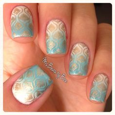 White And Seafoam Green Grant Nails With Golden Konad Stamp Base Colors Gelish Sheek Luckystar Stamping Polish Essie Good As Gold