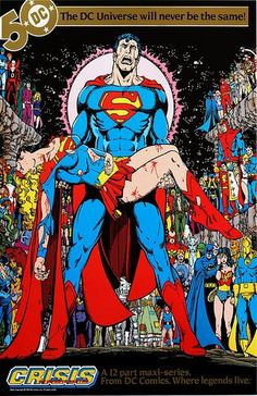 DC Comics promotional poster - Crisis of Infinite Earths - 1985