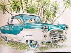 Urban sketchers show the world, one drawing at a time. Urban Sketchers, Magnets, Classic Cars, Cruise, Illustration Art, Drawings, Travel Journals, Sketchbooks, Sketching