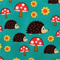 teal-green Michael Miller hedgehog animal fabric toadstool - I've got some of this!!! Will be making a dress for me soon-ish :)