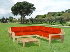 DIY loungeset Yelmo. Double garden sofa with lower table. Design and Furniture plans by neo-eko-meubelwerktekening.nl