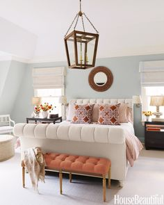 Color for master bedroom? To add punch to the master bedroom of an Old Greenwich, Connecticut, house, designer Lee Ann Thornton upholstered a bench in an orange linen, from Malabar. Beautiful Bedrooms, Beautiful Homes, House Beautiful, Beautiful Interiors, Blue Interiors, Stunningly Beautiful, Home Bedroom, Bedroom Decor, Master Bedrooms
