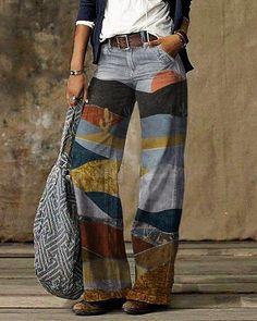 Womens Fashion Online, Latest Fashion For Women, Fashion Women, Women's Fashion, Ropa Upcycling, Ropa Shabby Chic, Moda Hippie, Mein Style, Wide Leg Jeans