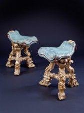 A Pair of Baroque Venetian Grotto Stools - Italian Furniture