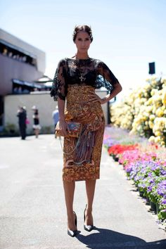 Street style: Melbourne fabulous high waisted print skirt sheer blouse with puff sleeves tribal print skirt Race Day Fashion, Races Fashion, Runway Fashion, Fashion Beauty, Woman Fashion, Street Fashion, Melbourne Cup Fashion, Tribal Print Skirt, Race Wear
