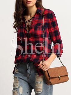 Blusa+bolsillo+acordonado+-rojo+16.67
