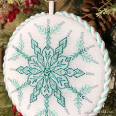 Snowflakes: 12 Winter Designs for Hand Embroidery - Available Now! Embroidery Hoop Decor, Couture Embroidery, Christmas Sewing, Christmas Embroidery, Cross Stitch Embroidery, Hand Embroidery, Snow Flakes Diy, Stitch Book, Felt Decorations