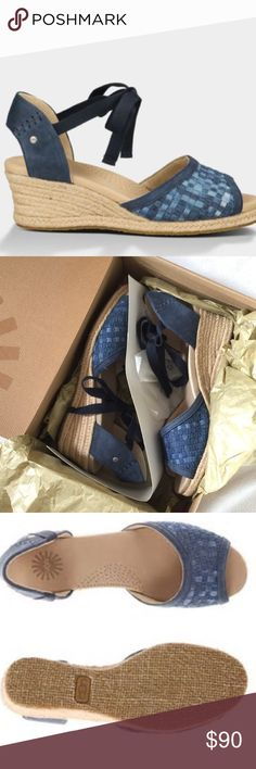 UGG BRAND NEW IN BOX DELMAR SANDALS NWOT What can I say - it's in the name. Bought at NORDSTROM These are luxurious imo, I don't want to sell I only wore to make sure they fit around the house.  but I need to clean out so I can move. They are like a pretty chambray and navy ❤️I paid 129.00$ for these so when you offer keep in mind posh takes 20%! Thank you for looking! ❣️ UGG Shoes Sandals