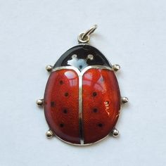 David Andersen Sterling Silver Red Guilloche Enamel Ladybug Charm Pendant | The Big O on Ruby Lane #ladybird #insect