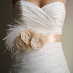 Bridal Sash Belt MADISON  Vintage Ivory Flowers on by BridalShoppe, $59.00