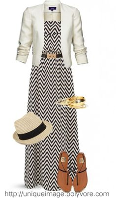 White blazer, black and white zig-zag striped maxi dress, fedora, brown gladiator sandals.