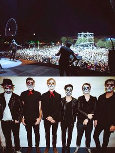 "Pa'l Norte 2014 in Monterrey, MX November 1st Foster the People appears on stage with sugar skulls make up for ""dia de muertos"" celebration in Mexico, amazing!! and very original!!"