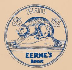 bookplate for Emil Eerme depicts beaver on rock in lake with maple leaves, design from Canadian nickel (5 cent) coin, Canada