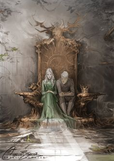 Throne of Glass - Aelin and Rowan - Sarah J. but the stag throne got destroyed Throne Of Glass Fanart, Throne Of Glass Books, Throne Of Glass Series, Queen Of Shadows, Character Inspiration, Character Art, Rowan And Aelin, Aelin Galathynius, Empire Of Storms