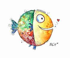 leinwandbild hagenmeyer happy fish 40 40 cm otto - The world's most private search engine Doodle Art Drawing, Painting & Drawing, Art Drawings, Watercolor Animals, Watercolor Cards, Watercolor Paintings, Art Fantaisiste, Doodle Art Letters, Art Mignon