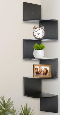 Greenco 5 Tier Wall Mount Corner Shelves Espresso Finish , L x W x H. Wall Mounted Corner Shelves, Small Plants, Walnut Finish, Home Decor Accessories, Home Decor Inspiration, Home Accents, Home Interior Design, Floating Shelves, Diy Home Decor