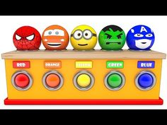 Learn Colors Wooden Hammer Balls Hulk Disney car Mcqueen Minions captain Spiderman for kid children - YouTube