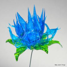 Upcycled  Blue Spiky Fun Flower Made of Plastic Water Bottles