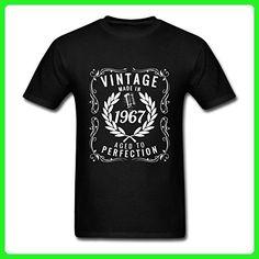 HUENS Vintage Made In 1967 Birthday Gift Idea Mens Cotton Graphic T-Shirt Black Size L - Birthday shirts (*Amazon Partner-Link)
