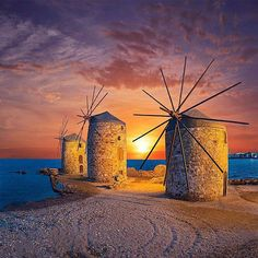 Windmill sunset in Chora - Chios Island, Greece (by kyrenian) Places To Travel, Places To See, Places Around The World, Around The Worlds, Chios Greece, Greek Isles, Greece Islands, Water Tower, Greece Travel