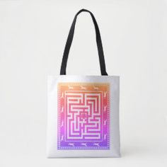 Tote Bag MAZE OF HORSES multi-coloured on white Holiday Photo Cards, Edge Design, Horse Riding, Mom Style, Maze, Custom Clothes, Gifts For Dad, Reusable Tote Bags, Horses