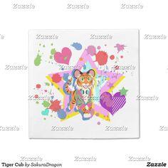Tiger Cub Napkin #tiger #cub #kawaii #animals #heart