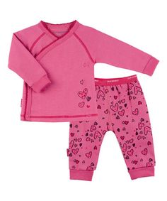 Another great find on #zulily! Pink I Heart You Wrap Tee & Pants - Preemie & Infant #zulilyfinds