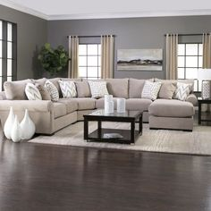 Calypso Sectional LAF Loveseat, RAF 1 Arm Chaise, Armless Loveseat, Wedge