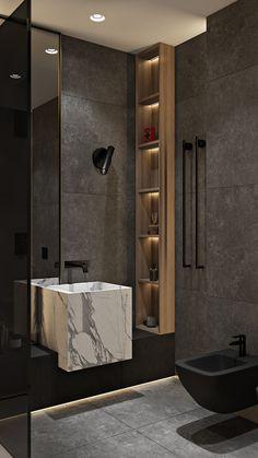 Balance Apartment - Dezign Ark (Beta) - Ashley Home Washroom Design, Toilet Design, Bathroom Design Luxury, Modern Bathroom Design, Home Interior Design, Interior Plants, Ideas Baños, Decor Ideas, Bathroom Design Inspiration