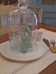 Chateau Chic - Vintage Bottles under Cloche (Baby Bottle Display) Antique Bottles, Vintage Bottles, Bottles And Jars, Vintage Perfume, Antique Glass, Mason Jars, Glass Domes, Glass Bottles, Perfume Bottles