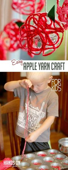 Yarn crafts always make for fun crafts for the kids. Make this easy yarn apple craft for some simple kid-made Fall decor! Yarn crafts always make for fun crafts for the kids. Make this easy yarn apple craft for some simple kid-made Fall decor! Yarn Crafts For Kids, Autumn Activities For Kids, Craft Activities, Fall Crafts, Toddler Activities, Diy For Kids, Arts And Crafts, Diy Crafts, Toddler Fun