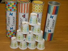 Game for sight words.  Each cup has a sight word on it. When a sight word is read correctly, they can start building a tower. If they get a word wrong or knock over the tower, they have to start over.