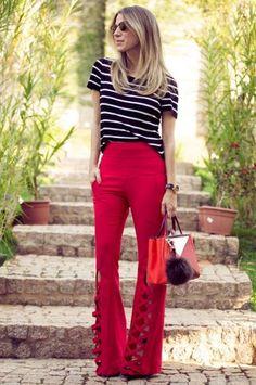 look calça flare vermelho - Pesquisa Google