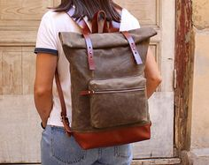 Wax canvas backpack, leather backpack, laptop backpack, laptop bag, roll top backpack, school backpack, wax backpack, wax canvas rucksack